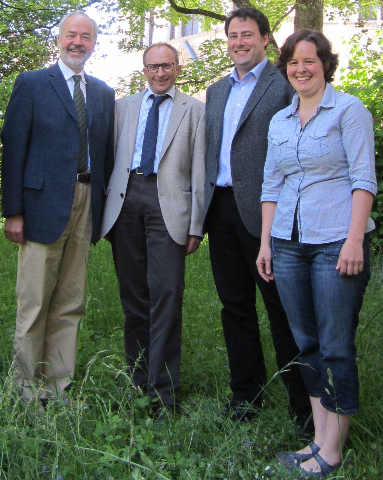 Landrat Thomas Reumann, Dietmar Bez, Bastian M. Rochner (LEV), Tanja Mader (LEV), Bild: Landratsamt Reutlingen