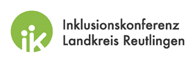 Das Bild zeigt das Logo der Inklusionskonferenz im Landkreis Reutlingen: Ein grüner Kreis mit den Buchstaben I und K.