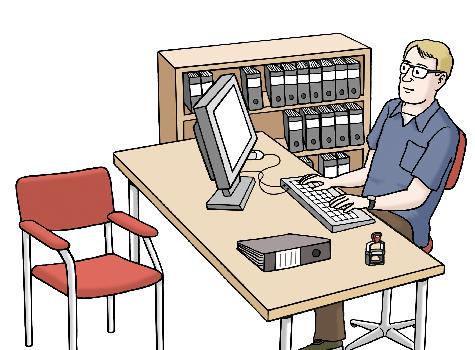 Das Bild zeigt ein Büro. Ein Mann sitzt am Schreibtisch und arbeitet am Computer, hinter ihm steht ein Aktenschrank.