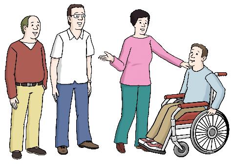 Das Bild zeigt eine Frau und drei Männer. Ein Mann sitzt im Rollstuhl. Die Frau lädt den Mann mit Handzeichen ein, mitzukommen.