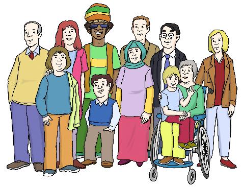 Das Bild zeigt eine Gruppe Menschen verschiedener Hautfarbe, Altersgruppen, Geschlecht, mit und ohne Behinderung.