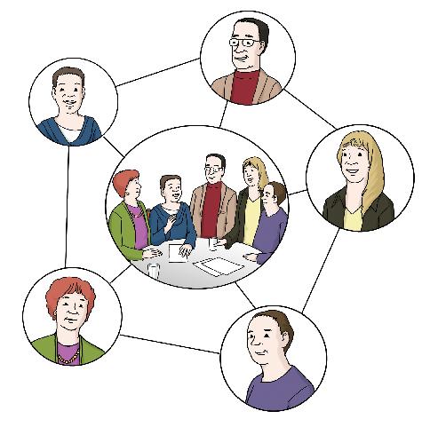 Das Bild zeigt fünf verschiedene Einzelpersonen, die durch Striche verbunden sind und somit ein Netzwerk bilden.