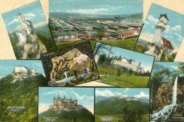 Postkarte mit bedeutenden Sehenswürdigkeiten des Landkreises