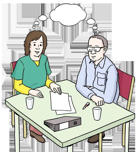 Das Bild zeigt eine Frau und einen Mann, die an einem Tisch sitzen. Über ihren Köpfen ist eine Gedankenwolke gezeichnet. Vor ihnen liegen Papier und Ordner.