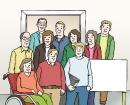 Das Bild zeigt viele verschiedene Menschen.