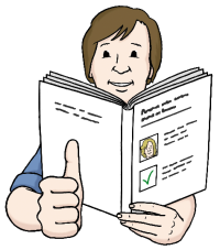 Das Bild zeigt einen Mann, der ein Heft in der Hand hält. Er streckt den rechten Daumen hoch.