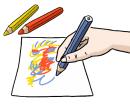 Das Bild zeigt eine Hand, die einen blauen Stift hält und auf ein Blatt Papier malt. Neben dem Papier liegen noch ein roter und ein gelber Stift.