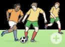 Das Bild zeigt drei Männer, die auf einem Rasen Fußball spielen