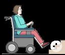 Das Bild zeigt eine Frau im Rollstuhl. Vor ihr sind Treppenstufen.