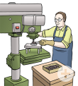 Das Bild zeigt einen Mann, der an einer Hebelmaschine arbeitet.