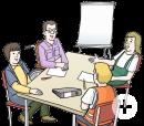 Das Bild zeigt vier Menschen, die an einem Tisch sitzen und miteinander reden. Vor ihnen liegen Papier, Stifte und Ordner.