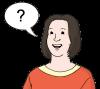 Das Bild zeigt eine Frau mit einem Fragezeichen in einer gemalten Sprechblase.