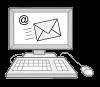 Das Bild zeigt einen Computer. Auf dem Bildschirm vom Computer ist das @-Zeichen zu sehen und ein Briefumschlag.