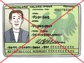 Das Bild zeigt ein deutsches Ausweis·dokument. Der Ausweis ist durchgestrichen.