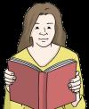 Das Bild zeigt eine Frau. Sie hat ein Buch in den Händen. Die Frau liest in dem Buch.