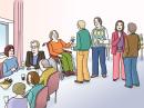 Das Bild zeigt verschiedene Menschen, die feiern. Sie stehen in verschiedenen Gruppen zusammen und unterhalten sich. Eine Gruppe von Menschen sitzt an einem Tisch.