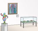 Das Bild zeigt eine Ausstellung von Kunstwerken. Ein Bild hängt an der Wand. Davor steht eine Figur. In einem Glaskasten sind drei verschiedene Formen ausgestellt.