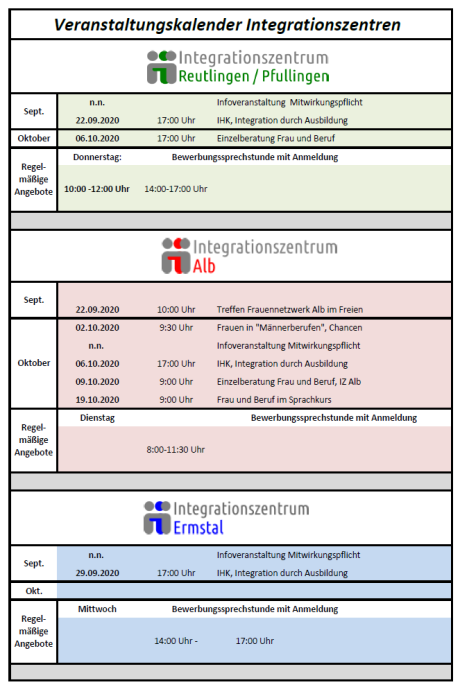 Veranstaltungskalender Integrationszentren