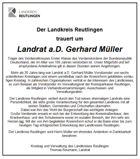 Traueranzeige Landrat a.D. Gerhard Müller