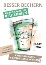 Flyer zur Einführung des Pfandbechersystems RECUP am 1. März 2019