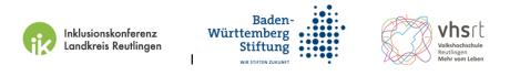 Das Bild zeigt Logos von der Inklusionskonferenz im Landkreis Reutlingen, der Baden-Württemberg Stiftung und der Volkshochschule Reutlingen.